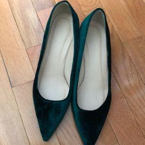 Emerald velvet heels